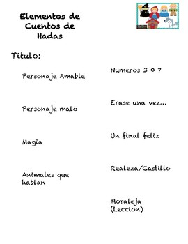 Fairy Tale Elements Checklist in Spanish