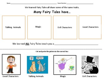 Fairy Tale Traits Cut and Paste
