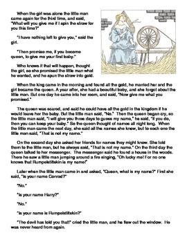 Fairy Tale Elements: Rumpelstiltskin Reading Passage and Questions