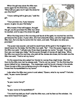 Fairy Tale Elements: Rumpelstiltskin Reading Passage and Questions
