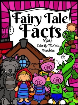 Color Math ~ Fairy Tale Facts ~ Color By The Number Code Math Puzzles