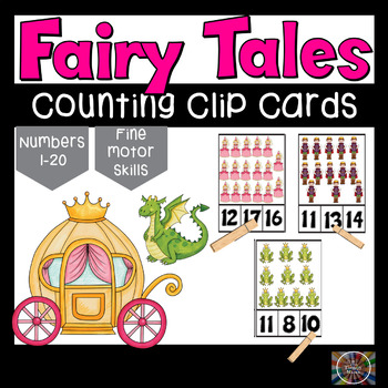 Fairy Tale Fun Counting Number Clip Cards 1 - 20 Math Center ABA activities