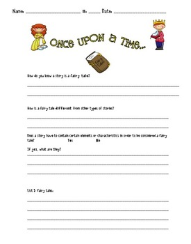 Fairy Tale Genre Question Worksheet