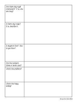 Fairy Tale Graphic Organizer - Any Fairy Tale