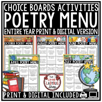 Poetry Choice Boards &  Poem Writing Activities: Poetry Analysis 3rd & 4th grade