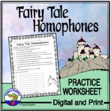 Fairy Tales Homophones Worksheet
