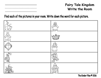 Fairy Tale Kingdom Write the Room- Includes 3 levels of answer sheets