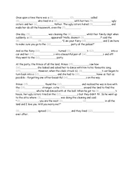 Fairy Tale Mad Lib (Cinderella) for EFL TEFL Lower Intermediate