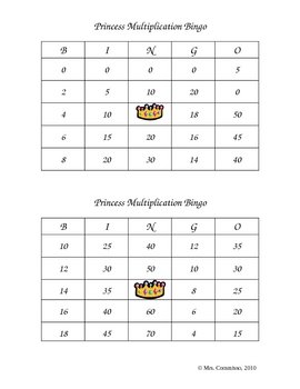 Fairy Tale Math Multiplication Bingo Game