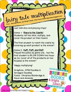 Fairy Tale Multiplication Dice Games- Freebie!