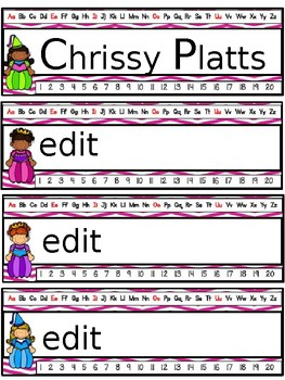 Fairy Tale Editable Name Plates