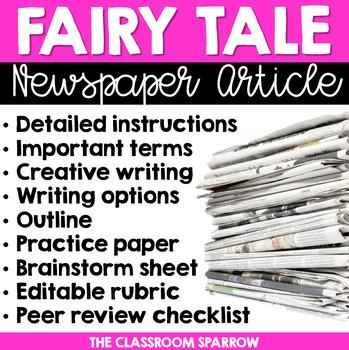 Fairy Tale Newspaper Article (creative writing, template, & editable rubric)