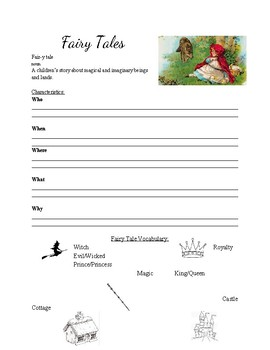 Fairy Tale Note taking Sheet