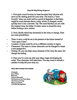 Fairy Tale Play Writing Assignment