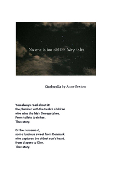 Fairy Tale Poems by Jeanette Winterson and Anne Sexton (Cinderella) poetry sheet