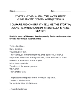 Fairy Tale Poems by Jeanette Winterson and Anne Sexton (Ci
