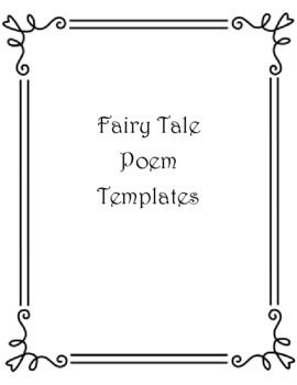 Fairy Tale Poetry Templates; acrostic haiku narrative biography cinquain; Cinder