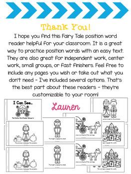 Fairy Tale Position Word Reader