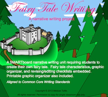 Fairy Tale SMARTBoard writing lesson with Graphic Organizer. Aligned to CCSS.