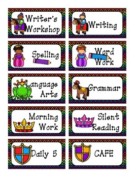 Fairy Tale Schedule Cards