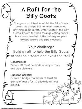 Fairy Tale STEM (Billy Goats Gruff) Build a Raft