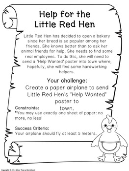 Fairy Tale STEM (Little Red Hen) Paper Airplane Challenge