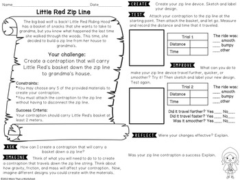Fairy Tale STEM (Little Red Riding Hood) Zip Line Challenge