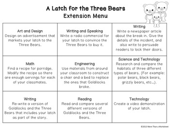 Fairy Tale STEM (Goldilocks and the Three Bears) Construct a Working Latch