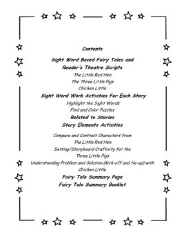 Fairy Tale Sight Word/Reader's Theatre Literacy Pack