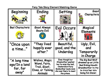 Fairy Tale Story Elements Slides and Matching Game