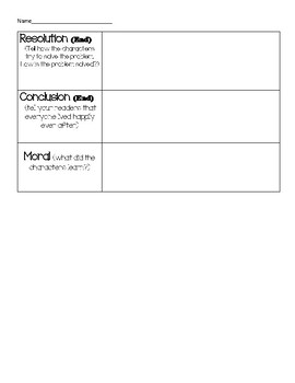 Fairy Tale Story Elements planning page