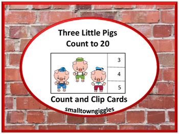Fairy Tales Three Little Pigs Counting Task Cards Count and Clip Special Ed Math