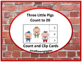 Three Little Pigs Task Cards Count and Clip Special Education Math Fine Motor