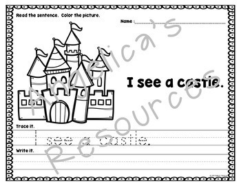 Fairy Tale Theme : Sentence Tracing - Includes Sight Words - Just Print & Go!