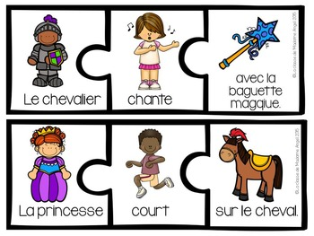 Fairy Tale Themed Sentence Builder Cards in French