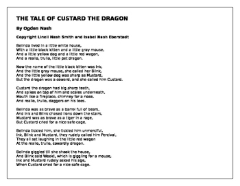 Fairy Tale Week Daily Lesson Plans, Vocabulary and Custard the Dragon Poem