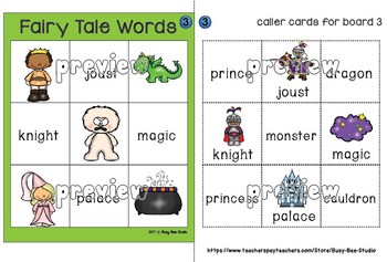 Fairy Tale Words Bingo