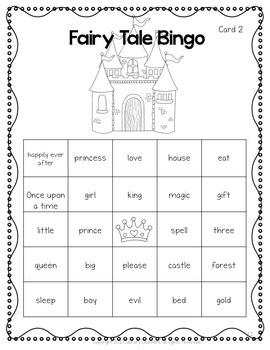 Fairy Tale Words Bingo