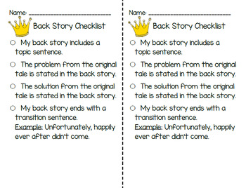Fairy Tale Writing Mini Unit