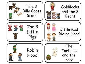 Fairy Tale and Nursery Rhyme Picture Word Flash Cards. Preschool flashcards.
