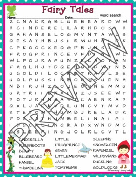 fairy tales activities crossword puzzle word search find tpt. Black Bedroom Furniture Sets. Home Design Ideas