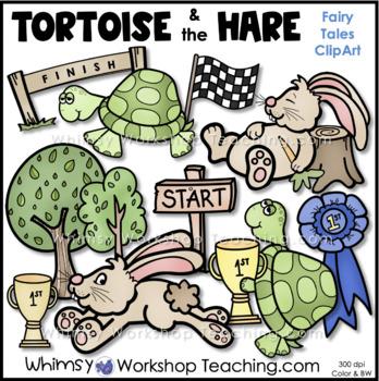 Fairy Tales Clip Art Bundle 2 - Tortoise, Grasshopper, Stone Soup, City Mouse