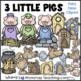 Fairy Tales Clip Art Bundle 3 - 3 Pigs, Gingerbread Man, Billy Goats, Red Hen