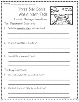 Fairy Tales: CCSS Aligned Leveled Passage and Activities Levels A - I