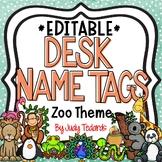 Zoo Animals Desk Name Tags...Editable