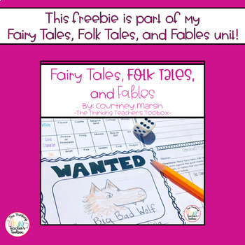Fairy Tales, Folk Tales, & Fables Response Cards RL.3.2 - Follower Freebie!
