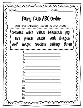 Fairy Tales-Fun word games and printables!