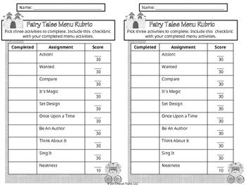 Fairy Tales Genre Study Choice Board (Common Core Aligned)