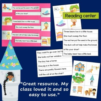 Fairy Tales Sentence Picture Match: reading center kindergarten and first grade