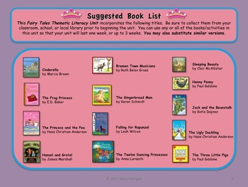 Fairy Tales Thematic Literacy Unit - Includes Common Core Standards